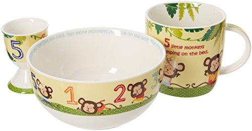 Little Rhymes Juego de Desayuno de Porcelana con 5 pequeños Monos, empaquetado para Regalo, 4 Piezas