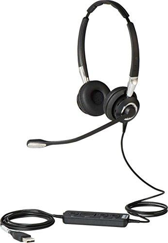 Jabra Biz 2400 II Duo USB Call-Center-Kabel-Headset für UC/Softphones/USB-Tischtelefone, Controller mit programmierbaren Tasten, Noise-Cancelling