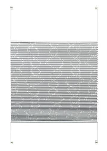 Gardinia Plissee zum Klemmen oder Kleben, Blickdichtes Faltrollo, Alle Montage-Teile inklusive, EASYFIX Plissee Dekor verspannt mit zwei Bedienschienen, Curl, Grau, 80 x 130 cm (BxH)