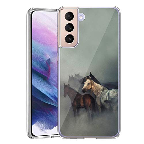 Meidao Case for Samsung Galaxy S21 Plus 5G Case Soft Clear Flexible TPU Horse Cover for Samsung Galaxy S21 Plus 5G Shockproof Bumper Cover,Anti-Scratch Protective Case for Girl Women-Horse