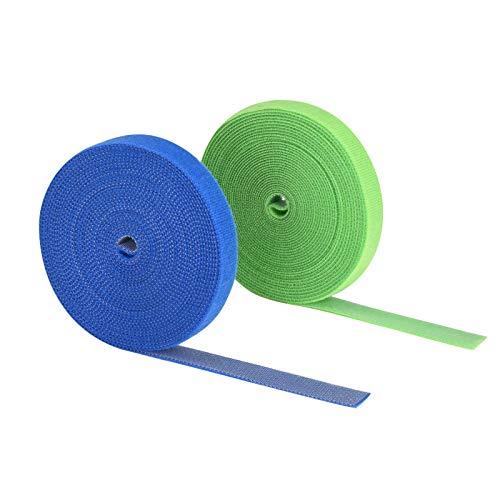 2 Rollen Kabelbinder, Klett Kabelbinder Klettband Klettbandrolle Kabelmanagement Kabelorganizer Klettkabelbinder Klettverschluss zuschneidbar (15mmx5mx2)