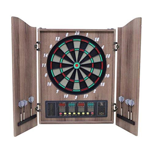 DPPAN Dianas Electrónicas de Dardos con Madera Puertas, Indicador LED 4 fácil de Usar Botones de la Interfaz de Control de Volumen 7, 27 Juegos 243 Variantes para 16 Jugadores,Wood