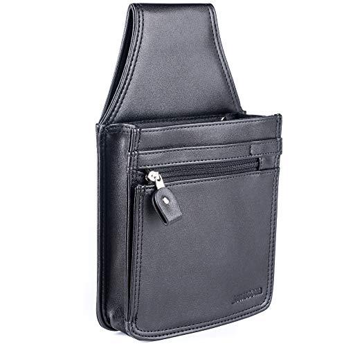 SWISSONA Kellnertasche schwarz aus strapazierfähigem Kunst-Leder – Kellner Geldbörse / Hüfttasche / Holster – praktisches Bedienungs-Zubehör, für den professionellen Gebrauch