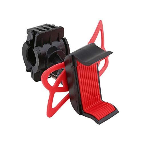 Soporte Universal de 360 Grados Giratorio para Bicicleta, Motocicleta, Manillar, Soporte para teléfono móvil con Banda de Soporte de Silicona (Rojo)