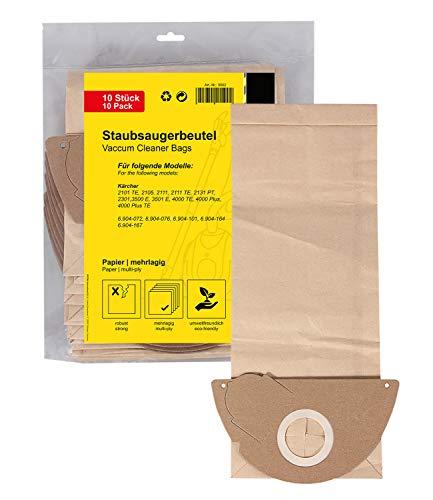 PATONA 10x Staubsaugerbeutel lang kompatibel mit Kärcher K2101 K2301 K2105 K2111 K3001, reißfestes Papier mehrlagig