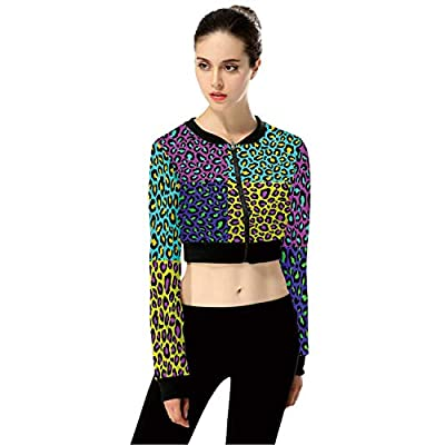 Leopard SkinPatterns FashionWomen's Long Sleeve Zipper Up Solid Crop Top Jacket for Sports,3XL by C COABALLA