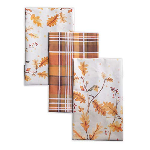 Maison d' Hermine Oak Leaves 100% Cotton Set of 3 Multi-Purpose Kitchen Towel Soft Absorbent Dish Towels   Tea Towels   Bar Towels   Thanksgiving/Christmas (20 Inch by 27.50 Inch)