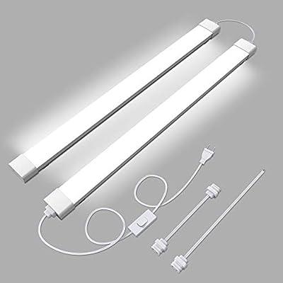 WNSNOU Plug Light,LED Shop Light , Waterproof and Linkable LED Tube Light, Plug Cord with NO/Off Switch, 5000K, 36W 3600LM, 4FT-2, LED Ceiling and Closet Lights, Workshop Lights. Lights for Room.