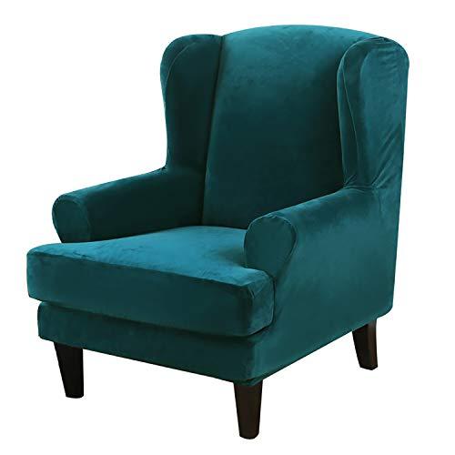 GEBIN Samt Sesselbezug, Sessel-Überwürfe Ohrensessel Überzug Bezug Sesselhusse Elastisch Stretch Husse Für Ohrensessel (Pfauenblau)