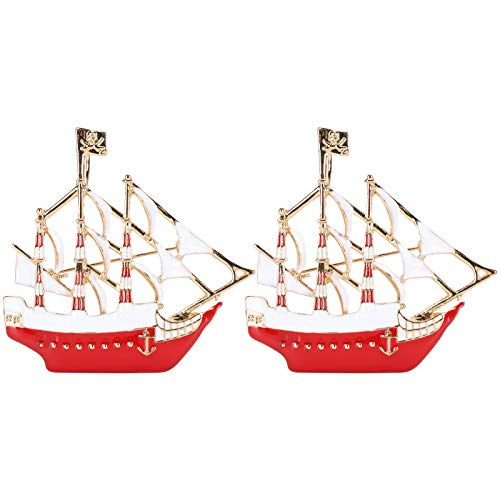 BIKING Broschen in Segelboot-Form, 2 Stück Segelboot-Form Unisex-Broschen Kragenclips Cartoon-Abzeichen Revers Rucksack-Zubehör(rot)
