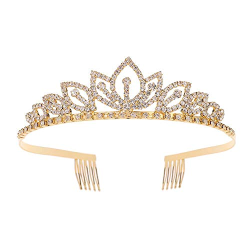 Tiaras and Crowns with Combs Crystal Princess Tiara Headband for Women Girls Bridal Wedding Birthday Prom Party, Gold