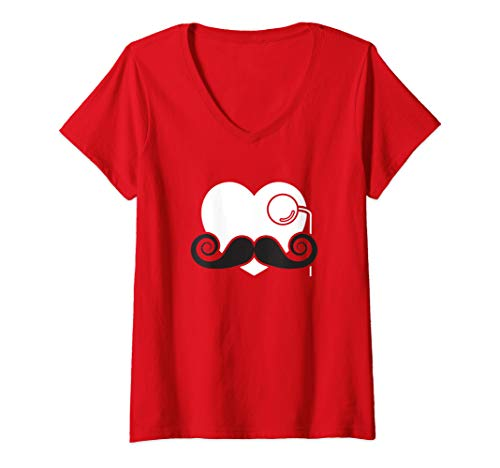 Womens Hipster Heart with Mustache and Monocle Valentines Day V-Neck T-Shirt