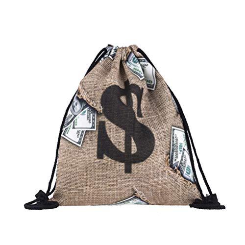 TOYANDONA Bolsa de Bolsa de Dinero con Cierre de cordón y diseño de Signo de dólar Disfraz de ladrón de Bancos para Suministros de Fiesta Pirata Accesorios de Cosplay