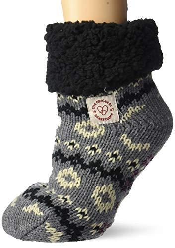 Women's Plaid or Fairisle Knit Cozy Slipper Sock with Sherpa Cuff. Zapatillas...