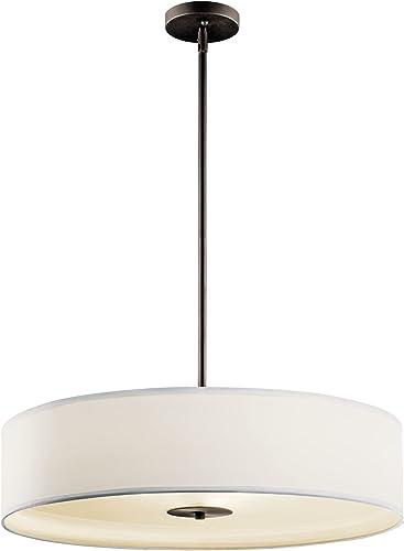 "new arrival Kichler 42122OZ Semi Flush 2021 Drum Pendant Lighting, Bronze online sale 3-Light (24"" W x 13"" H) 450 Watts outlet sale"
