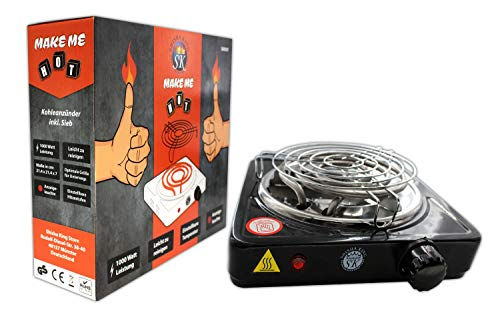 Shisha King® elektrischer Kohleanzünder für Shisha Kohle mit Gitter | 1000 Watt | Premium Kohleofen Naturkohle