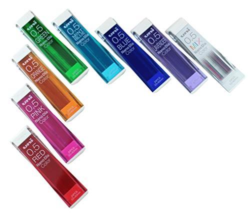 Uni Mechanical Pencil Leads Nano Dia 0.5mm, 8 Colors, 20 leads 8-packs (Total 160 Leads) MIYABI eraser set.(uni05-8color/MIYABI-Black)