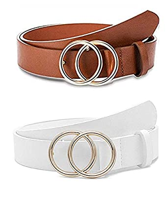 WODOCK 2 Pieces Women Leather Belt Faux Leather Waist Belts Fashion Soft Faux Leather Waist Belts For Jeans Dress