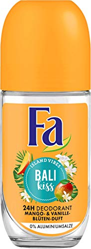 FA Desodorante Roll-on Island Vibes Bali Kiss con aroma de mango, flor de vainilla, 6 unidades (6 x 50 ml)