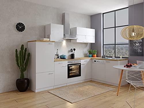 respekta Cuisine d'angle en forme de L - Cuisine encastrable - Blanc - 280 x 172 cm