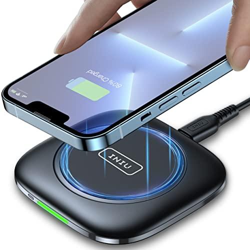 INIU 15W Caricatore Wireless, Ricarica Rapida Wireless con funzione Temp°Guard per iPhone 13 12 Pro Max Xr Xs X 8 Plus, Samsung Galaxy S21 S20 S10 S9 Note20 ultra 5G AirPods Huawei Xiaomi Google ECC.