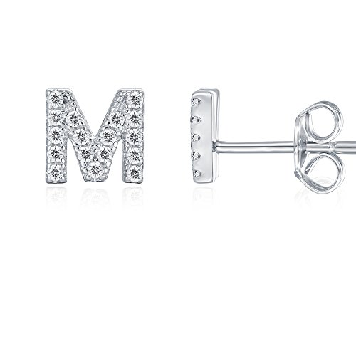 PAVOI 925 Sterling Silver CZ Simulated Diamond Stud Earrings Fashion Alphabet Letter Initial Earrings - M