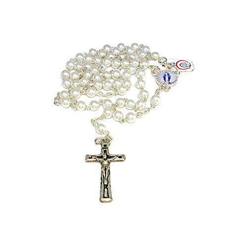 DELL'ARTE Articoli Religiosi Rosario cattolico Vetro Imitazione Perla Chiara- 5mm - con Scatola portarosario