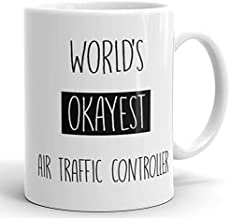 Worlds Okayest Air Traffic Controller Mug - Funny Coffee Cup For Office 11oz Coffee Mugs Sarcasm Coworker Gag Gift