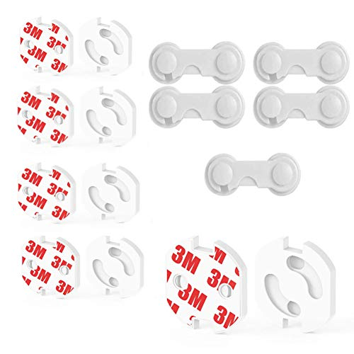 15 Piezas Kit de Seguridad para Bebés,Protector Puertas Bebe, 10 Protectores Enchufes y 5 cerraduras de seguridad para niños,para Armario Cajones y Enchufes