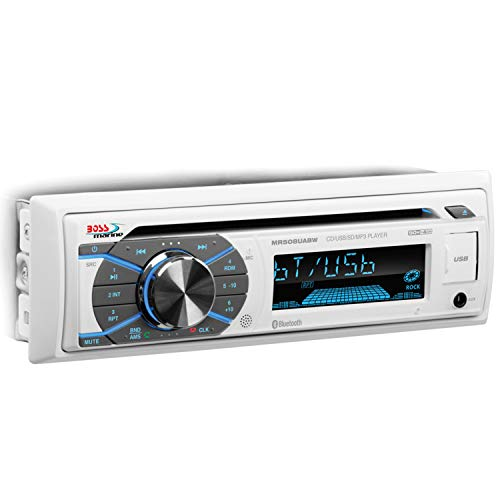 Boss Audio Systems MR508UABW Marine Receiver - Weatherproof, Bluetooth Audio and Hands-Free Calling, CD, USB, MP3, AM FM, Aux-in