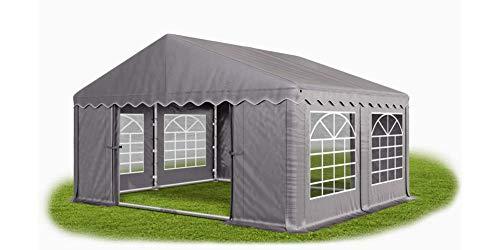 Das Company Partyzelt 4x4m wasserdicht grau mit Bodenrahmen und Dachverstärkung Zelt 240g/m² PE Plane hochwertig Gartenzelt Summer Plus PE