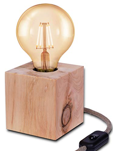 MAYLO OG Lampe aus Zirbe Massivholz - Tischleuchte Angelina - inkl. LED Globe Leuchtmittel