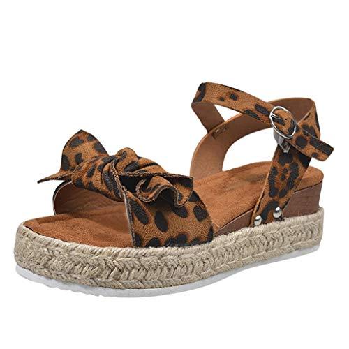 i-uend Damen Leopard Wedges Espadrille, Bowknot Buckle Stroh Sandalen, Casual/Strandschuhe