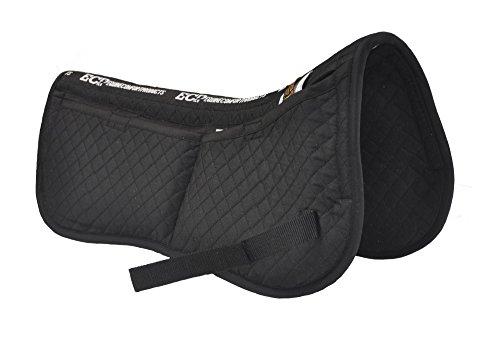 ECP Cotton Correction Half Saddle Pad - Memory Foam Pockets - Black