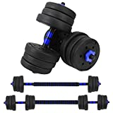VIVITORY Fitness Dumbbells Set, Adjustable Weight Sets up to 44/66Lbs, Free Weight with Connecting Rod Used As Barbell, Iron Sand Mixture, Home Gym Work Out Training Equipment (Blue-44 lbs)