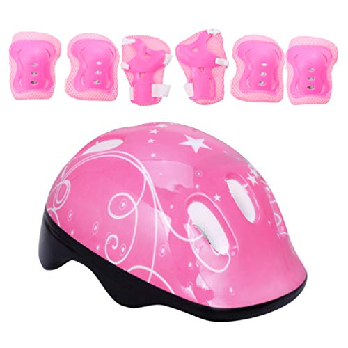 TOYANDONA 7pcs in 1 Set Adjustable Skating Helmet Kits for Boys Girls with Sports Protective Gear Set Knee Elbow Wrist Pads for Skateboard Cycling Scooter Rollerblading(Pink)