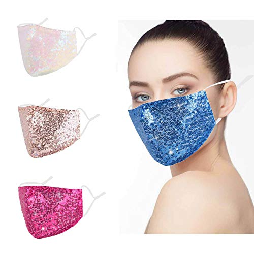 Sequin Face Mask Washable Adjustable Reusable Breathable Bling Fashionable Sparkly Fashion Glitter Rose Gold Blue Fabric Cotton Colth 3d FaceMasks with Ear Loops Best Gifts for Women Girls Adult 4Pcs