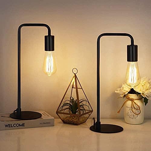 LIANTRAL Juego de 2 lámparas de mesa retro industrial de metal para dormitorio, salón, oficina, color negro