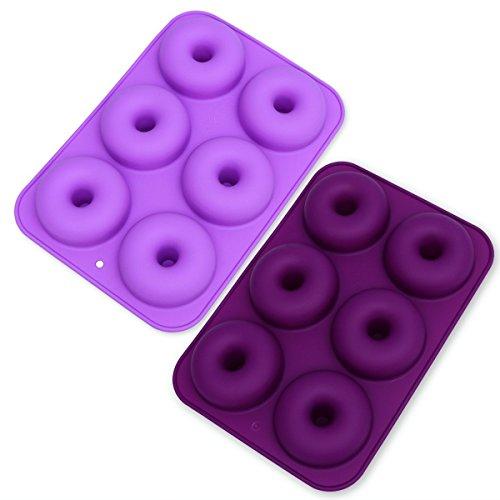 MEISO 6-Slot Silikon Antihaft Donut Formen 2er Set 2 für Kuchen, Kekse, Bagels, Muffins (Dark Purple & Light Purple)