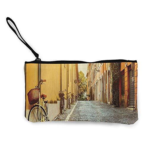 Portemonnee portemonnee,Straat in Rome Italië Fiets Reizen Canvas Indrukwekkende verandering Cash Portemonnees voor Party Shopping Walking,22(L) x12(W) cm