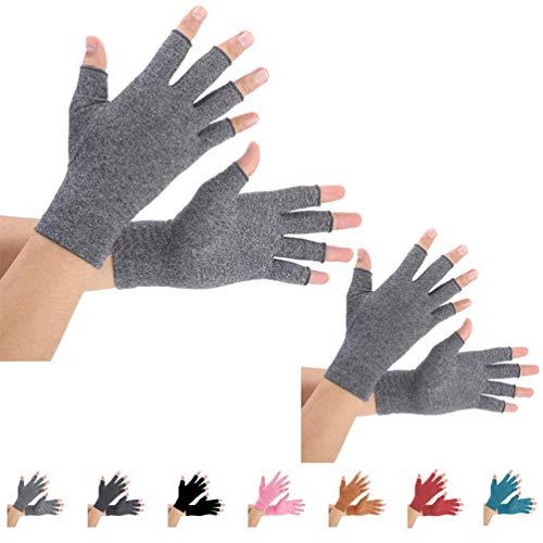 2 Paare Arthritis Handschuhe, Unterstützung für Kompressionshandschuhe und Wärme für Hände, Fingergelenk, Linderung von Schmerzen bei Rheumatoiden, Arthrose, RSI, Karpaltunnel (L, grau)