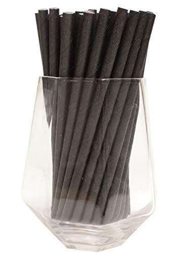 Cannucce da Cocktail Nere (6mm x 140mm) - Confezione da 500 - Cannucce di Carta Biodegradabili, Ecologico, Altamente Durevoli