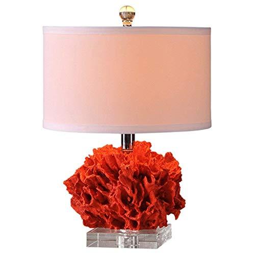 DYB Lámpara de Mesa de decoración de habitación de Boda de Coral Rojo Lámpara de Mesa de Cristal basebedroombedside E27 Lámpara de Escritorio Moderna para Sala de Estar