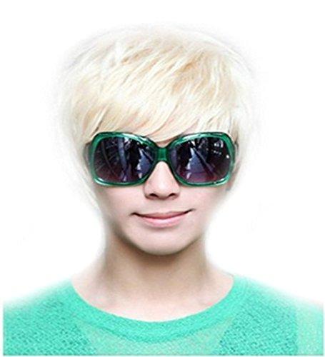 Perruque raide tendance style punk pour homme Blond platine