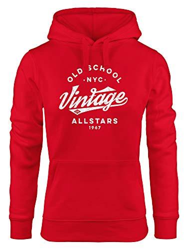 Neverless® Hoodie Damen College Style Schriftzug Oldschool Vintage Allstars Kapuzen-Pullover Fashion Streetstyle rot M