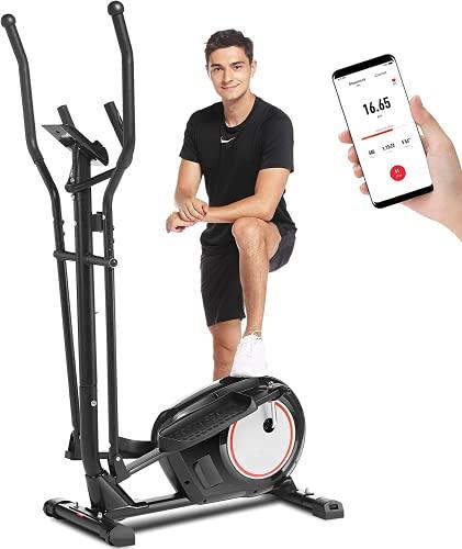 ANCHEER Macchina Ellittica Fitness Machine Cyclette Ellittica con 8 Livelli di Resistenza/Display LCD/Porta Tablet/Maniglia per Test della frequenza cardiaca/Carico Massimo: 265Ibs(Nero)