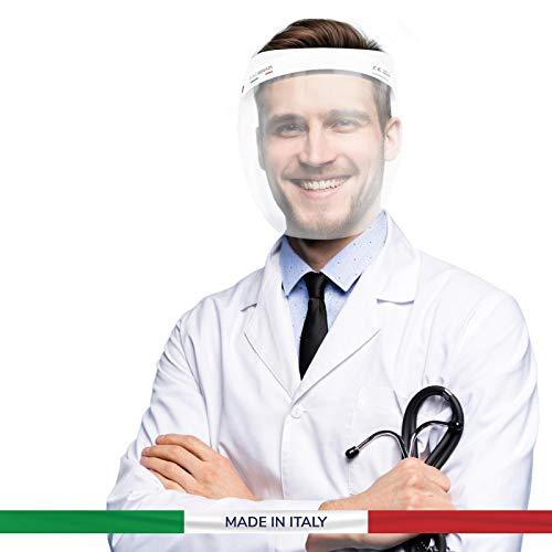 Visiera Protettiva Virus Trasparente Italiana 1 Pezzo Dispositivo Sicurezza Protezione Facciale Paraschizzi Copertura Completa Antibatteri Uomo Donna Lavabile Riutilizzabile Medica Certificata