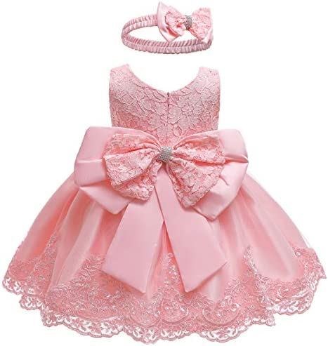Baby Girls Lace Bowknot Flower Dress Wedding Pageant Baptism Christening Tutu Gown product image