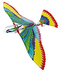 """Flying bird from France comes this fun mechanical plastic bird that really flies by flapping its wings. It is about 8"""" long and has a wingspan of 16"""" tip to tip. Snap the wings in place, wind up the rubber band drive and toss it gently into the air o..."""