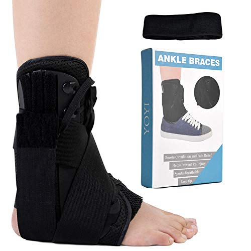 YOYI Ankle Brace,Lace Up Adjustable Support,Ankle Support Brace for Ankle Sprains,Breathable,Compression Brace for Arthritis,Pain Relief, Sprains,Sports Injuries and Recovery for Men&Women (XL)